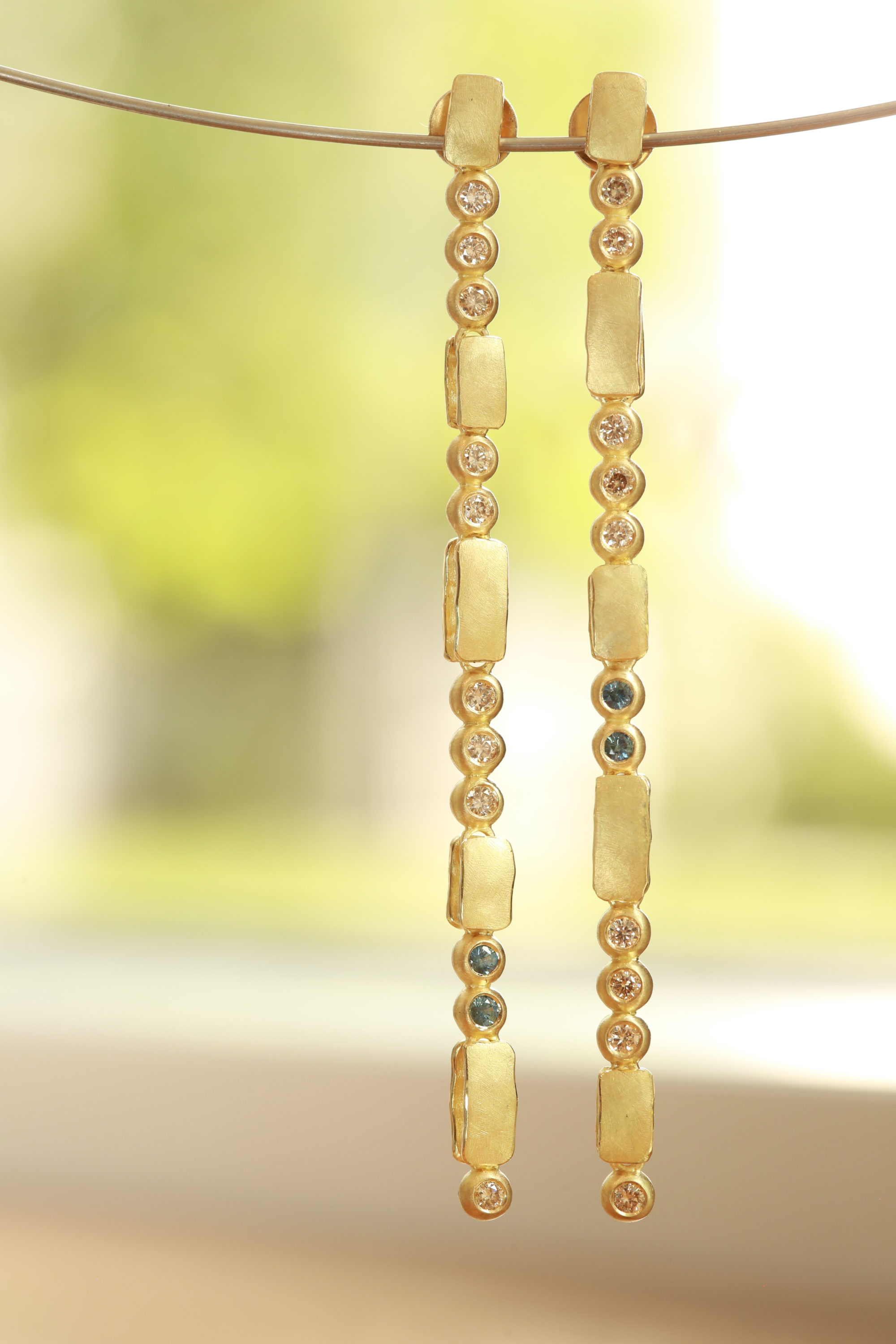 Long Diamond Drop Earrings